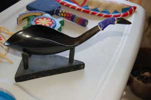 Buffalo horn spoon with purple and yellow beadwork