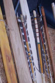 Selection of feather tipped arrows and wooden bows.